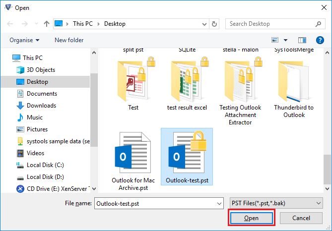 open Outlook file
